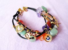 Evil eye bracelet ethnic jewelry natural stones by Handemadeit, $17.90