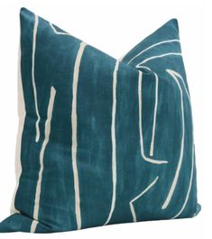 """Little Design Company Graffito // Teal + Pearl - 18"""" X 18"""" Teal Throw Pillows, Decorative Throw Pillows, Pillow Inserts, Pillow Covers, Pillow Inspiration, Down Feather, Little Designs, Kelly Wearstler, Queen Size Bedding"""