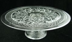 Vintage clear crystal glass cake stand