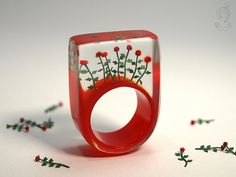 Red roses  romantic flower ring with red by GeschmeideUnterTeck