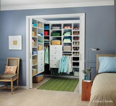 Have Bryan take off the closet door and build shelving like this in Mischa's room... Including shoe cubbies and built in dresser drawers.