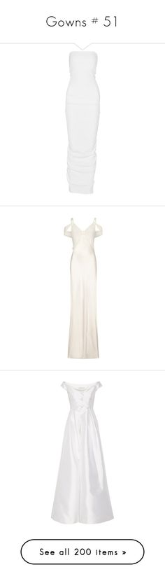 """""""Gowns # 51"""" by jewelsinthecrown ❤ liked on Polyvore featuring dresses, gowns, dresses/rompers, long dress, rick owens, off the shoulder gown, off-the-shoulder dress, white fitted dress, off the shoulder evening gown and long dresses"""