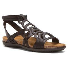 The Sara is a trendy gladiator inspired sandal with a velcro ankle strap and double gore at the back heel. This style features a padded technical lining heel and back panels for extra comfort. Naot's