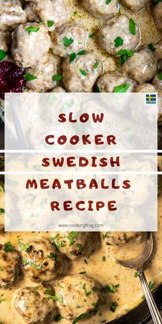 Slow Cooker Swedish meatballs recipe soaked in a delicious and flavorful sauce. The mix of tender pork, ground beef and spices make a comfy meal. meatballs recipes easy, sweedish meatball recipe, recipe for swedish meatballs, easy swedish meatballs. Recipes Using Meatballs, Crock Pot Meatballs, Meatballs In Slow Cooker, Swedish Meatballs Crockpot Easy, Jelly Meatballs, Slow Cooking, Slow Cooker Recipes, Crockpot Recipes, Barbecue Recipes