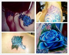 2014 fashion blue rose watercolor Tattoo ideas on shoulder