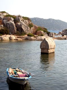 Ancient Lycian tombs at Kekova, Lycian coast, Turkey