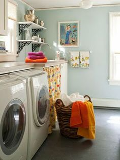 Paint the shelves white and put up in the laundry room with cute jars of clothes pins and such.