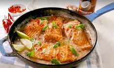 This creamy salmon skillet dinner is rich, without being too decadent. The combo of ginger, fresh lime juice, and basil brightens everything up. Trust us, you're going to LOVE the sauce. Lime Salmon Recipes, Salmon Skillet, Fresh Lime Juice, Fish And Seafood, Quick Easy Meals, Great Recipes, Delish, Good Food, Food Porn