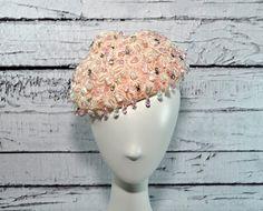 BEAUTIFUL Vintage Christian Dior Chapeaux Hat - Beaded Pink - Paris New York. $180,00, via Etsy.