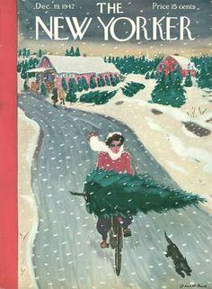 In bicicletta sotto la neve a pallini allungati e regolari, l'albero sul manubrio e il/la gatto/a accanto. (Copertina del New Yorker del 19 dicembre 1942)