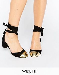 5a371a11f9eb ASOS SHOW TIME Wide Fit Ribbon Lace Up Heels Dressy Flats