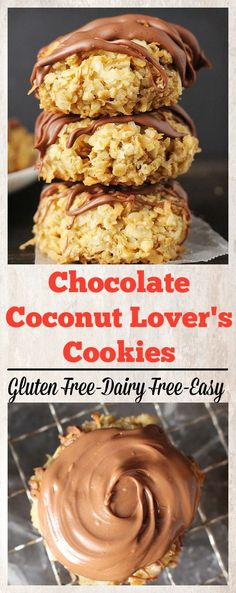 Chocolate Coconut Lover's Cookies- easy, gluten free, dairy free and so delicious!!