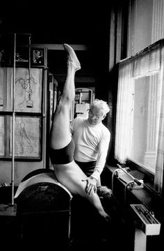 one of the most beautiful shots of Joseph #Pilates teaching, in all its vintage glory.   www.thepilatesflow.com.sg https://www.facebook.com/ThePilatesFlow