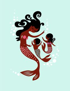 """10X13"""" mermaid mother with boy and girl children. light turquoise, warm brown skin tone, african american polynesian. on Etsy, $23.00"""