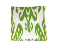 Green White Cotton Silk Fabric Ikat Home Decorative Square Pillow Cover