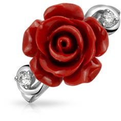925 Silver Red Resin Flower Rose CZ Modern Ring Rhodium Plated ($24) ❤ liked on Polyvore featuring jewelry, rings, red, theme jewelry, resin rings, silver cz ring, silver jewellery, resin flower rings and silver cubic zirconia rings