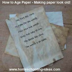 """aging paper.... I remember doing this in school when studing indians. we used brown paper sack and crumpled over and over and then rubbed to look like """"hide"""" paper"""