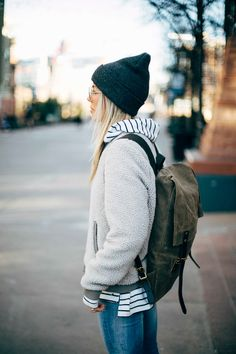 The Collaboration Blog: Casual Street Style #streetstyle #casualstyle #winterfashion  Hat - Carhartt Pack - Frost River Jacket - Old Navy