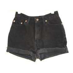 VTG 90s 30 Levis Black High waist Grunge Denim Cutoff Shorts ($34.00) ❤ liked on Polyvore featuring shorts, bottoms, pants, short, high waisted cut off shorts, short shorts, highwaist shorts, cut off short shorts and high-rise shorts