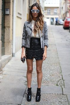 http://www.ewigem.com/product/falda-tachuelas 50€ skirt: Ewigem , shirt & sunglasses: Zara, jacket: Stradivarius, boots: Au Revoir Cinderella