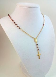 Garnet Rosary Necklace 14kt Gold Cross Real by divinitycollection, $69.00