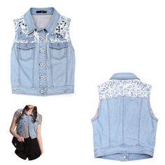 New designed denim vest with lace