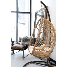 Belham Living Bali Resin Wicker Hanging Egg Chair with Cushion and Stand Image 7 of 11 Old Chairs, Eames Chairs, Vintage Chairs, Metal Chairs, High Chairs, Ikea Chairs, Desk Chairs, Office Chairs, Upholstered Chairs
