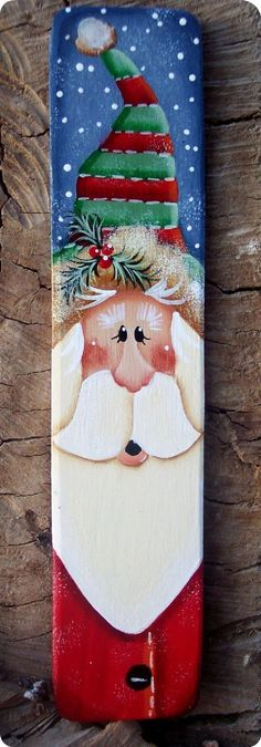 "Country Charmers Shop  ""Tole""tally Cute Ornaments, Pins and more!!!  Tall Santa Ornament. $7.25, via Etsy."