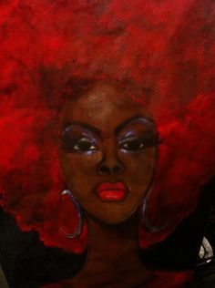 Artist Unknown To Me! African American Artwork, African Artwork, Black Love Art, Black Is Beautiful, Natural Hair Art, Red Art, Afro Art, Dope Art, Art Techniques