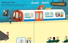 "Pages from ""First Sticker Book: London"" #new #children's #books #Usborne #Stickers #London #Trains #Underground #Tube #England #Seeinside #illustration www.usborne.com"