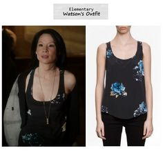 "Lucy Liu as Joan Watson in Elementary - ""Snow Angels"" (Ep. 119). Watson's Outfit: All Saints Peony Tank $145 $101.50 here 