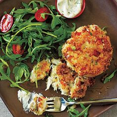 Healthy Crab Cakes and Spicy Mustard Sauce Recipe. Crab is a good source of B12 for energy.