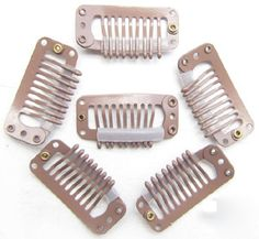 9 Teeth Light Brown Steel Clips for Hair Extensions 20pcs