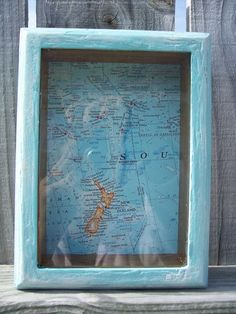 Rustic, Distressed Aqua Blue Shadow Box with Vintage Map