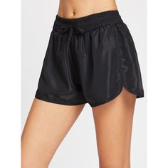 SheIn(sheinside) Drawstring Waist Dolphin Hem Sports Shorts ($5) ❤ liked on Polyvore featuring activewear, activewear shorts and black