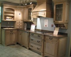Love the depth and dimension of these distressed cabinets. Kraftmaid Kitchen Cabinets, Distressed Cabinets, Low Cabinet, Cabinet Ideas, Staining Cabinets, Cherry Kitchen, Upper Cabinets, Traditional Kitchen, Interior And Exterior