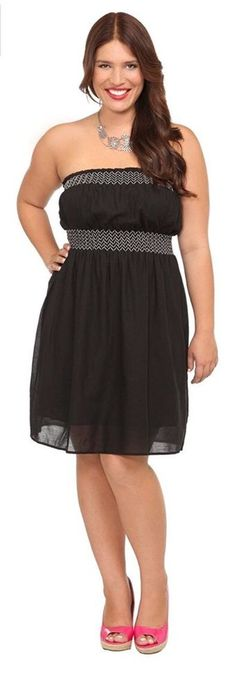cf54f53181e Torrid Black White Smocked Tube boho Dress 4 4x 26 28 Sundress Beach  Strapless