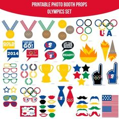 Olympics Printable Photo Booth Prop Set Olympic Idea, Olympic Flame, Office Olympics, Summer Olympics, Olympics 2015, Kids Olympics, Diy Photo Booth Props, Olympic Logo, Photobooth Props Printable