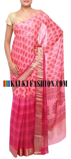 Get this beautiful saree here: http://www.kalkifashion.com/printed-saree-in-abstract-motif-featuring-in-pink-and-peach-only-on-kalki.html Free shipping worldwide.