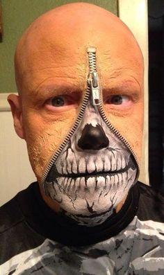 Zipper skull face paint Zipper Face Halloween, Mens Halloween Makeup, Halloween Costumes To Make, Halloween Men, Cool Costumes, Halloween Ideas, Costume Ideas, Zipper Face Makeup, Body Makeup