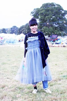 Susie Bubble wearing Modern Man t-shirt, Molly Goddard dress, J-Brand jeans, vintage Courréges jacket, Vans x & Other Stories slip ons #susielau #stylebubble