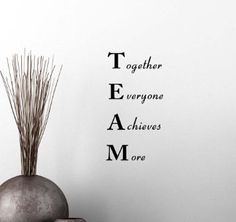Wall Vinyl Decal TEAM Together Everyone Achieves More Classroom sport football cute inspirational family love vinyl quote saying wall art lettering sign room decor