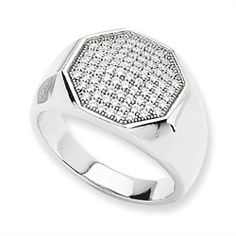Cubic Zirconia Rings - Sterling Silver & CZ Fancy Polished Ring