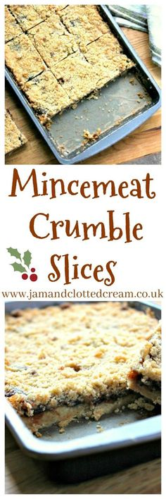 A sweet festive traybake using mincemeat. The mincemeat crumble slices make a great alternative to traditional mince pies. Xmas Food, Christmas Cooking, Christmas Desserts, Christmas Treats, Christmas Cakes, Christmas Recipes, Holiday Cakes, Baking Recipes, Cake Recipes