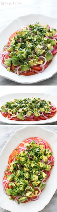 Fresh tomato, Red onion, and Avocado Salad, great to bring to a summer holiday cookout! #LaborDay Seasoned Italian style with oregano, fresh parsley, garlic, olive oil, wine vinegar, salt and pepper. ~ SimplyRecipes.com