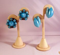 Up for your consideration, two pairs of Moonglow Thermoset Lucite earrings. Both blue in color. These earrings are a great retro find!  First