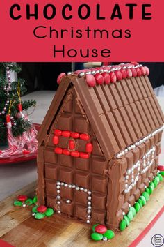 This year instead of a gingerbread house we made a Chocolate Christmas House. Gingerbread House Designs, Christmas Gingerbread House, Gingerbread Houses, Christmas Treats, Christmas Baking, Kids Christmas, Christmas Cookies, Christmas Angels, Gingerbread Cookies