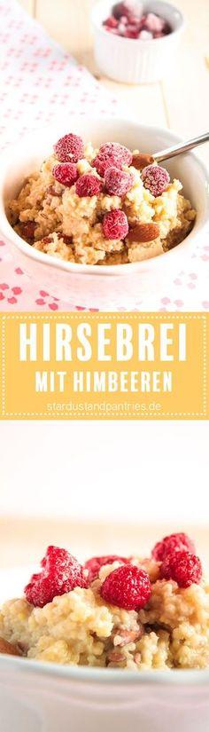 Leckerer Frühstücksbrei mit Hirse, Mandeln und Himbeeren. Vegan, glutenfrei und zuckerfrei! Das Rezept gibt es auf dem Blog zum download!