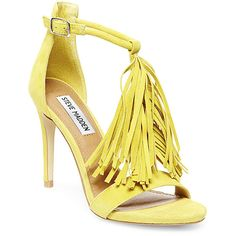 Steve Madden Women's Sashi Stilettos Dress Shoes ($30) ❤ liked on Polyvore featuring shoes, sandals, heels, yellow suede, leather heeled sandals, dress shoes, high heels sandals, fringe heel sandals and leather fringe sandals