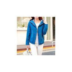 Hooded Denim Jacket ($34) ❤ liked on Polyvore featuring outerwear, jackets, women, cotton jean jacket, hooded jacket, jean jacket, hooded denim jackets and blue jean jacket
